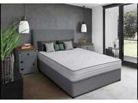 GREY Black White DOUBLE King size Single DIVAN BED MATTRESS & HEADBOARD