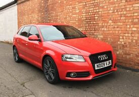 Red Audi A3 1.6 FSI S Line. Low Mileage. Full History. Parking Sensors. Black Edition Grill. Reduced