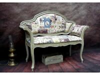 Vintage Telephone Seat Chair Chaise Longue Painted Shabby Chic
