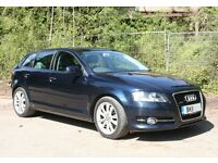 Superb 2011 Audi A3 Sport 2.0 TDi Quattro (170hp) Sportback. Deep sea blue. Low 49k miles