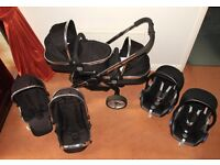 ICandy PEACH TWIN TRAVEL SYSTEM with Maxi-Cosi car seats, 4x rain covers,4x inserts.