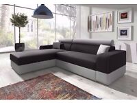 """Discounted Price"" ---RRP£1500--- Italian Corner Sofa Bed with Storage, Black Fabric + Grey Leather"