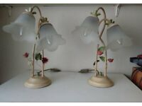 TABLE LAMPS FLUTED GLASS SHADES