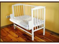 Brand new bedside cot, crib with mattress
