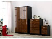 walnut high gloss finish wardrobes full sets free assembly service and delivery