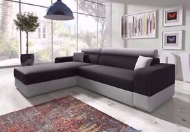 Brand New Italian Corner Sofabed W Storage in Black/Grey Sofa Bed