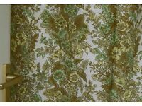 """VINTAGE RETRO PAIR UNLINED CURTAINS FABRIC MATERIAL GREENS YELLOWS WHITE 64""""W X 72""""L CLEAN NO FADING"""