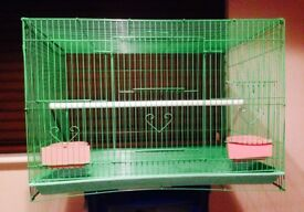 Lovely coloured bird cage. Hight 16ins. Wide 23ins. Deep 17 ins. Easy cleaning with pull out tray.