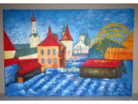 Picture painting oil on canvas stretched on frame Blue Town 3ft x 2ft unknown artist