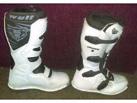 Wulfsport Trackstar Motorcross MX Boot White Quad Dirtbike SIZE 7