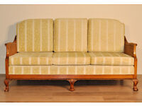 Vintage Carved Mahogany Double Bergere Caned Three Seat Sofa Couch Settee