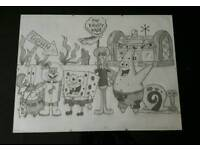 A3 hand drawn spongebob and friends framed