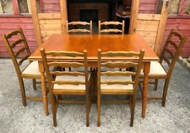 Oak Dining Table & 6 Chairs Extendable Table & Ladder Backs - Delivery Available