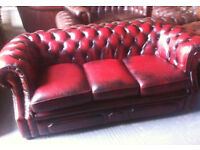 Oxblood red leather 3 seater chesterfield sofa