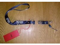 Hugo Boss Hugo Label Lanyard Complete With Clip And Leash Attachments New