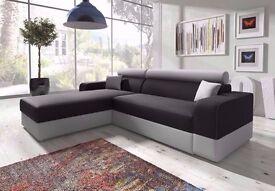BRAND New Italian Corner Sofa Bed with Storage, Black Fabric + Grey Leather.