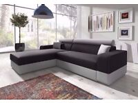 BRAND New Italian Corner Sofa Bed with Storage, Black Fabric + Grey Leather.