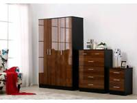 walnut high gloss finish wardrobes full sets with free assembly service and delivery