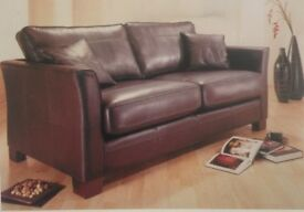 Top Quality Genuine Brown Leather Large 2 seater (can easily seat 3) sofa