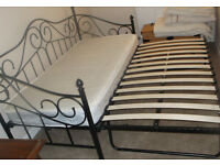 Victorian style black metal Daybed & Trundle (guest bed), converts to double bed - with/out mattress