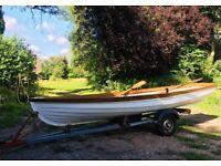 Refurbished 14ft Fibreglass Skiff row boat and trailer