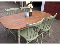 Table with 4 chairs (6 available) hand painted distressed wax finish Annie Sloan 'Chateau Grey'