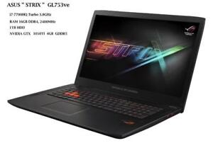 ASUS STRIX 17'' GL753ve Intel i7-7700HQ turbo speed 3.8 GHZ , 16GB RAM, 1TB , NVIDIA GTX1050Ti