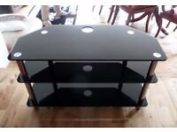 Tempered Glass TV Stand in high gloss finish and sleek black colour