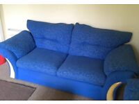 2 x 3 seater blue fabric couches - Newtyle