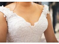 Bridal Dress - White silk with lace on top - also comes with 2 veils one short and one long