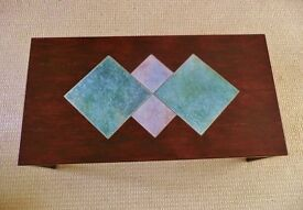 4 Foot Long X 25.5 X 15.75 inch Walnut Varnish Finish Rectangle Coffee Table Tile Top Centre
