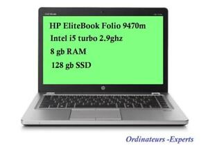 HP Elitebook Folio 9470m 14'', for business,  Intel i5 ,2.9 ghz turbo, 8GB RAM, 128GB SSD + Mc Office PRO 2016