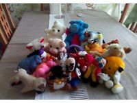 Twenty different small soft toys including teddy bears,pigs,dogs,birds and many more.