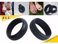 UNISEX BLACK SILICONE FLEXIBLE RUBBER HYPOALLERGENIC WEDDING ENGAGEMENT ACTIVE BAND RING MEN WOMEN