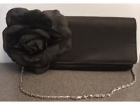 Black Clutch Bag with Flower - Long silver chain - Can be worn on the shoulder or as a clutch