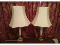 PAIR OF BRASS AND ONYX TABLE /BEDSIDE LAMPS £40