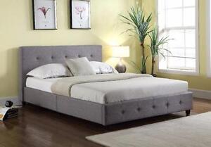 BRAND New! Grey Upholstered Linen Platform Bed, FREE DELIVERY