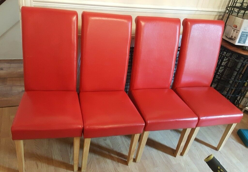 4 Red Faux Leather Dining Chairs