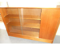 Teak Bookcase or Display Case with Sliding Glass Doors and Cupboard