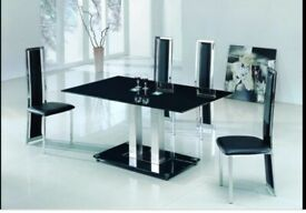 Black glass dining table and 6