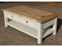 RUSTIC LARGE PINE TOP & PAINTED PALE CREAM COFFEE TABLE 2 DRAWERS & UNDER SHELF