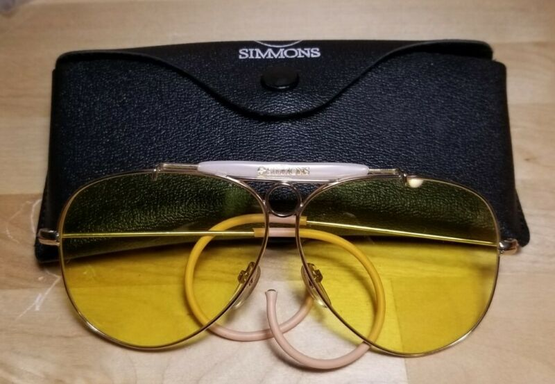 Vintage Simmons Sports Shooting Glasses Yellow Aviator With Case