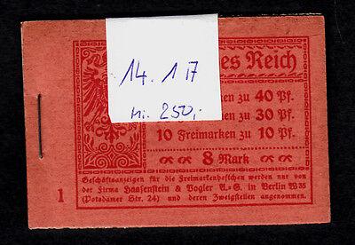 Dt. Reich, Markenheft, Markenheftchen 14 1A postfrisch,TOP Erhaltung,siehe Scan
