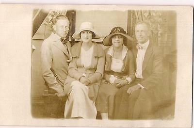 Flapper Style Fashion Hat Women & Men Couples Vintage 1920s Real Photo Postcard