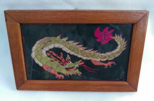 Antique Silk Embroidered Japanese Dragon Framed under Glass