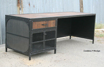 Vintage Industrial Desk.steel And Reclaimed Wood. Modern. Urban. Custom