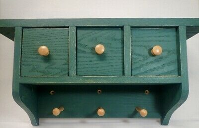 Handmade Oak Wood Country Farm House Wall Rack w/ Drawers Distressed Green Paint for sale  Stockbridge
