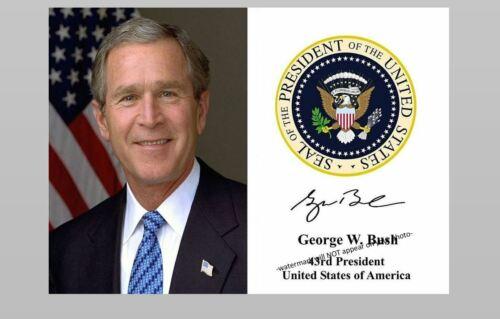 President George W Bush Official PHOTO Portrait Art Print Seal Autograph Repro