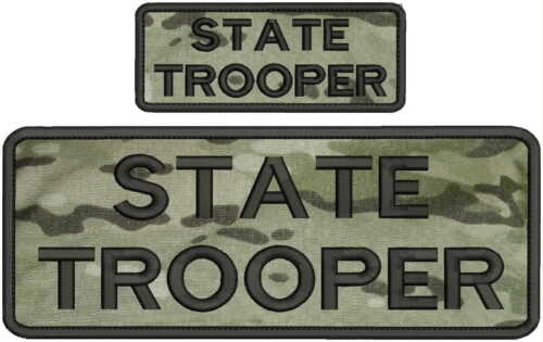 state trooper embroidery patches 4x10 and 2x5 hook multicam