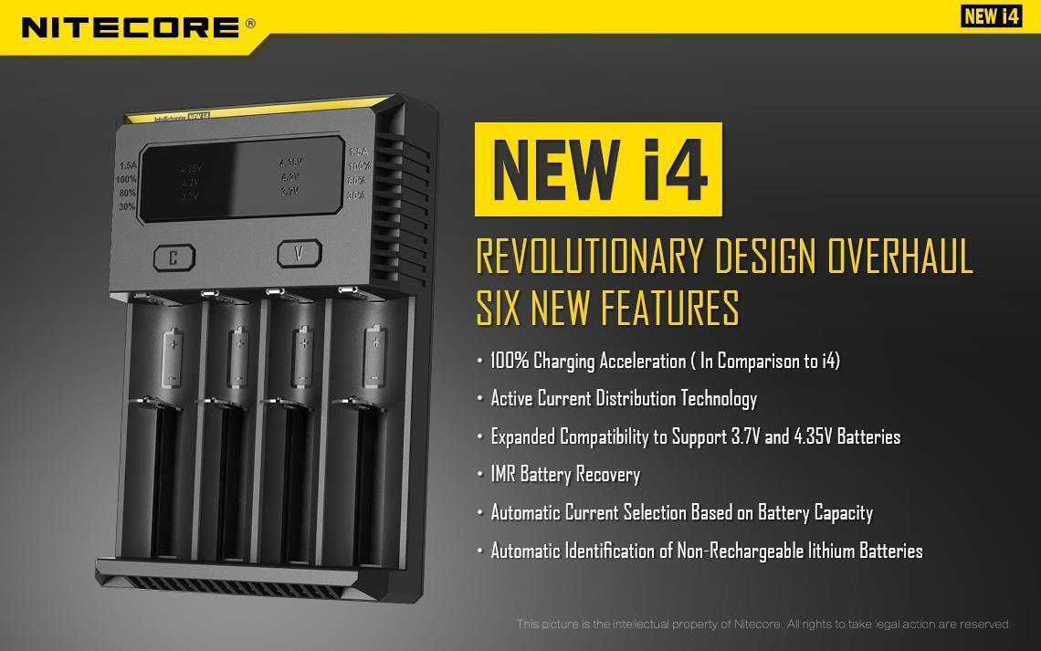 NITECORE New i4 2018 smart battery charger IMR/Li-ion/Ni-MH/Ni-Cd 18650/16340